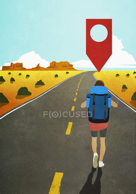 Mapa pin icon above woman backpacking on remote desert road — Fotografia de Stock