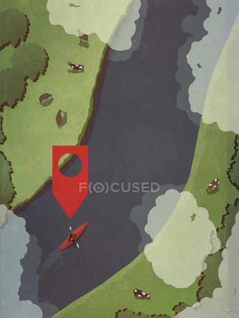 Значок на карте над человеком, катающимся на каяке вдоль сельской реки — стоковое фото