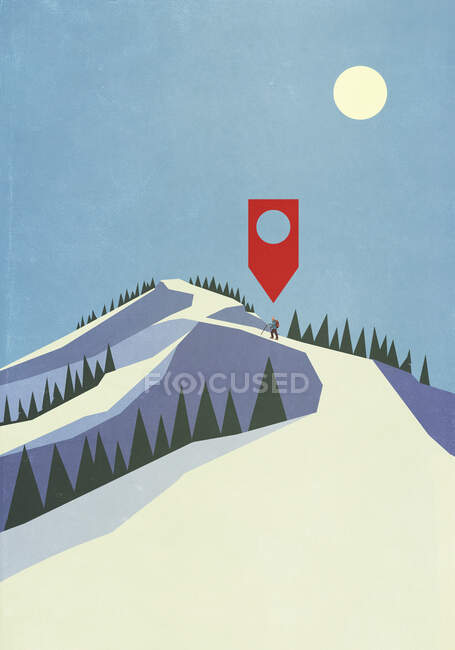Map pin icon above person mountaineering on snowy mountain — Stock Photo