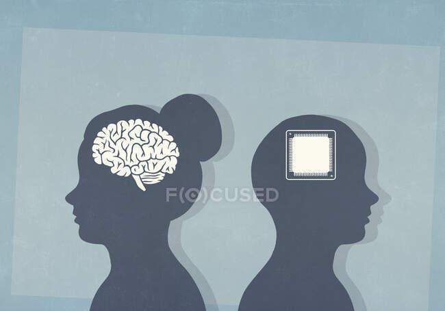 Cerebro y chip de computadora en cabezas siluetas - foto de stock