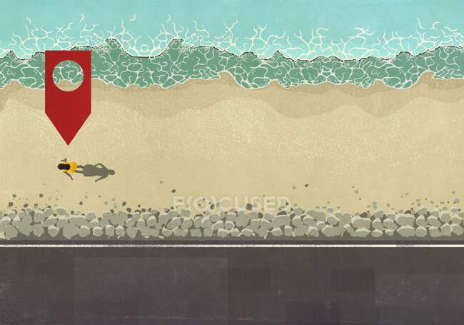 Mappa pin icona sopra la donna a piedi sulla spiaggia soleggiata dell'oceano — Foto stock