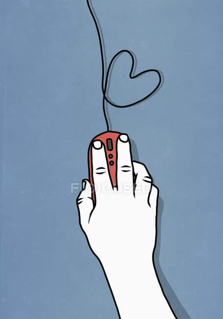 Rencontres en ligne avec souris d'ordinateur et forme de coeur — Photo de stock