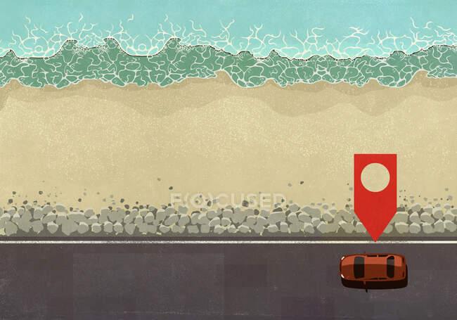 Ícone de pino de mapa acima carro dirigindo ao longo da estrada do oceano — Fotografia de Stock