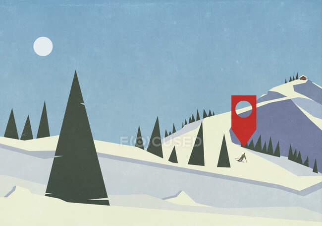 Emplacement pin au-dessus skieur sur pente de montagne enneigée — Photo de stock