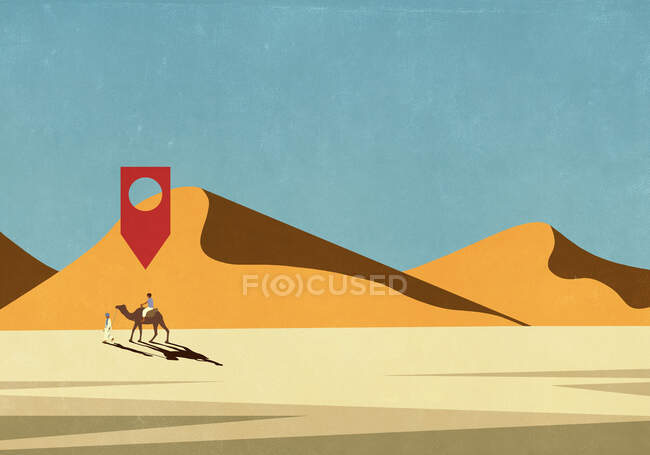 Значок на карте над человеком верхом на верблюде в пустыне — стоковое фото
