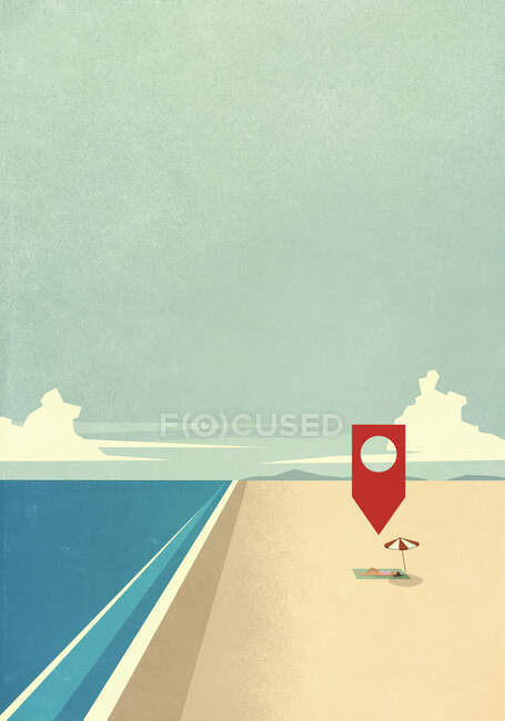 Map pin icon above woman laying on sunny ocean beach — Stock Photo