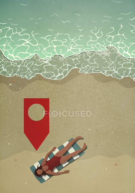 Mappa pin icona sopra donna prendere il sole sulla spiaggia dell'oceano — Foto stock