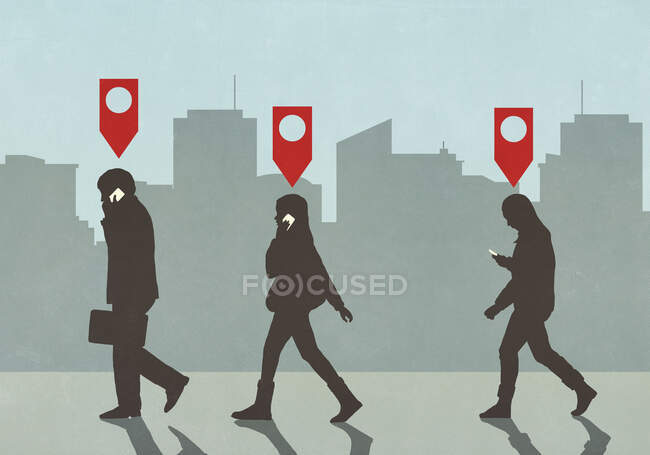 Map pin icons above business people walking and talking on smart phones in city — Stock Photo