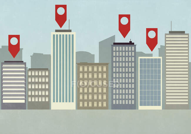 Map pin icons above highrise buildings in city — Stock Photo
