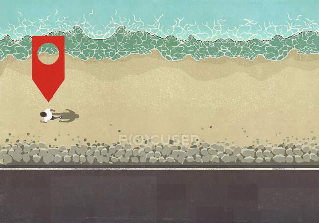 Mappa pin icona sopra l'uomo a piedi sulla spiaggia soleggiata dell'oceano — Foto stock