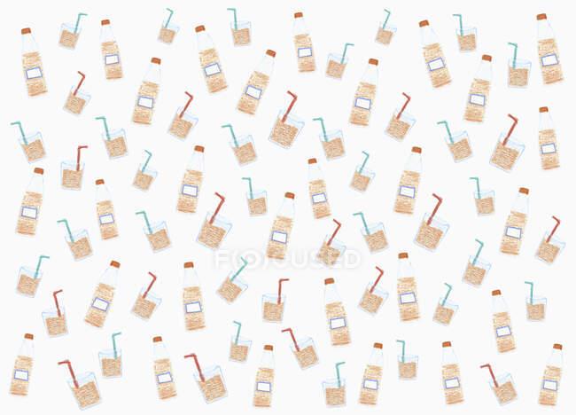 Ілюстрована пляшка з содовою і візерунок на білому тлі — стокове фото