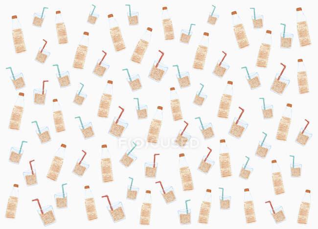 Иллюстрационная бутылка соды и стеклянный узор на белом фоне — стоковое фото