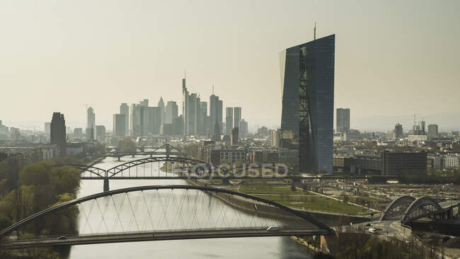 Sunny Frankfurt cityscape and bridge over River Main, Germany — стокове фото