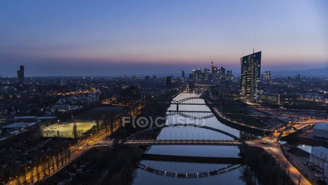 Frankfurt cityscape and River Main — стокове фото