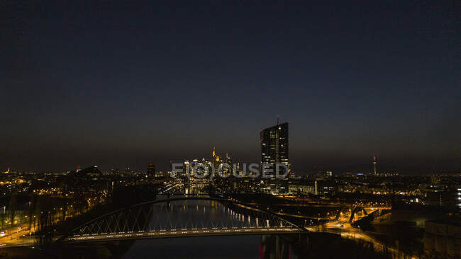 Frankfurt cityscape illumined night, Germany — стокове фото