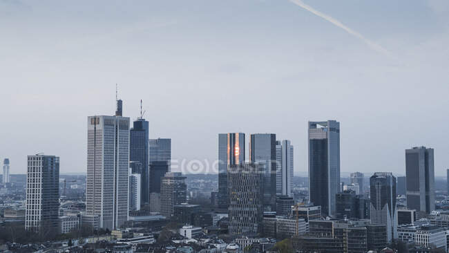 Frankfurt skyscraper buildings and cityscape, Germany — стокове фото