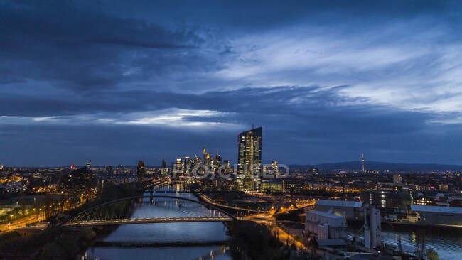 Frankfurt cityscape illumined night, Germany — стокове фото