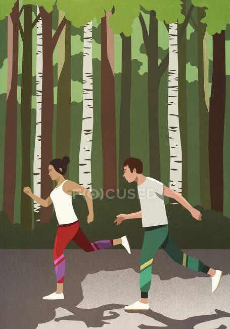 Casal jogging no parque ensolarado — Fotografia de Stock