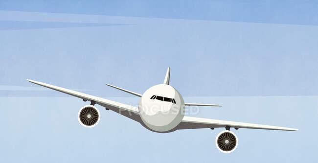 Самолет летит в небе — стоковое фото