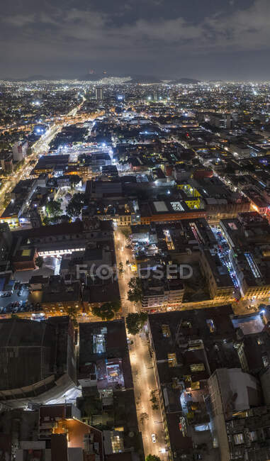 Aerial view Mexico City illuminated at night, Mexico — Stock Photo