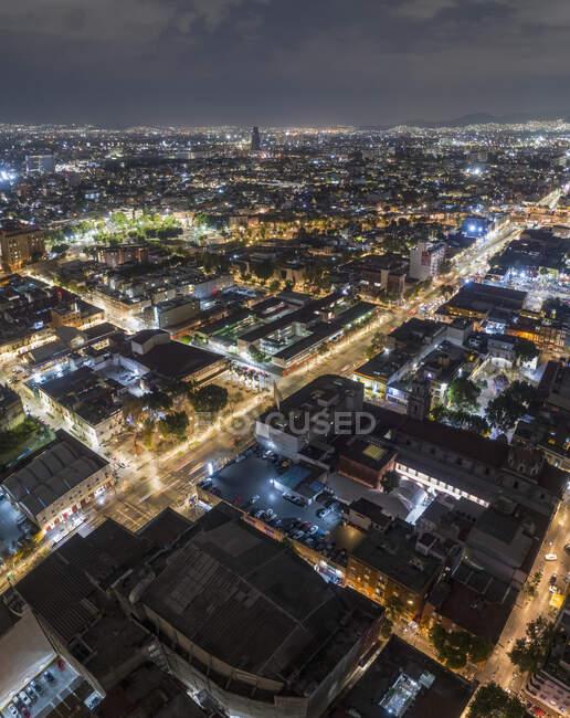 Illuminated aerial view Mexico City at night, Mexico — Stock Photo