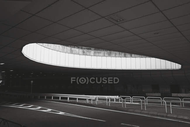 Round opening over abandoned airport road, Tokyo, Japan — Stock Photo