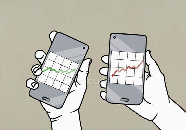 POV Hands утримують суперечливі інвестиційні діаграми даних на смарт-телефонних екранах — стокове фото