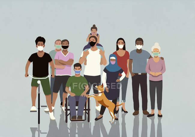 Portrait of diverse community in face masks — стокове фото