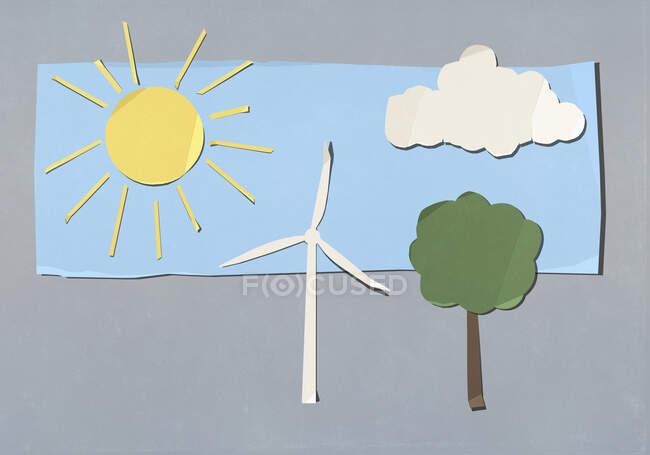 Окружающая среда и ветряная турбина — стоковое фото