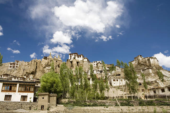 Lamayuru Buddhist Monastery rising above a mass of eroded cliffs on the Leh-Kargil road with Poplar and Willow trees in the foreground. Ladakh. India — Stock Photo