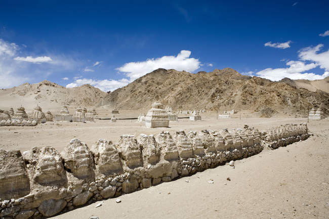 Buddhist stupas in the typical cold desert barren landscape in Shey, Ladakh. India — Stock Photo