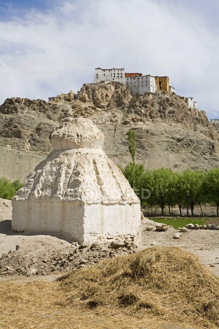 Side view of the impresssive Tikse Buddhist Monasterry rising from the mountains with a Buddhist stupa in the foreground. Ladakh. India — Stock Photo