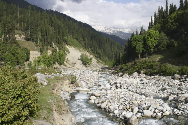 View of Lanscape with river stream and stones on shore, Dhundi, Manali, Himachal Pradesh, India, Asia. — Stock Photo