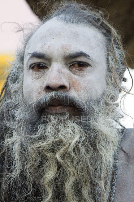 Portrait of indian Saint Nagababa Shivdasgiri. Varanasi, India — Stock Photo