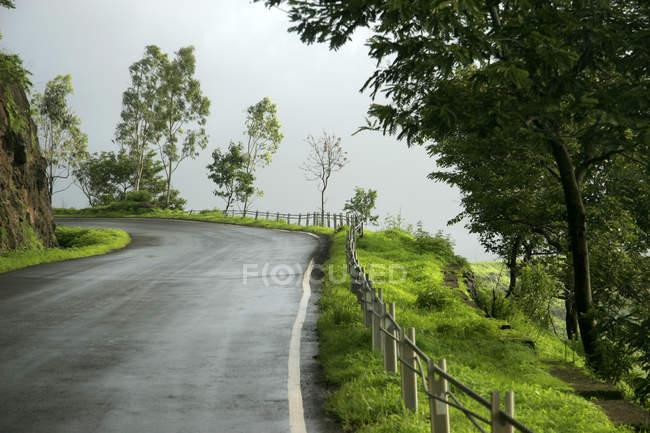 Route rurale avec vert frais mousson tout autour. Maharashtra, Inde — Photo de stock