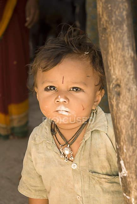 Сільських дитини великим планом, село Salunkwadi, Ambajogai, Beed, штаті Махараштра, Індія — стокове фото