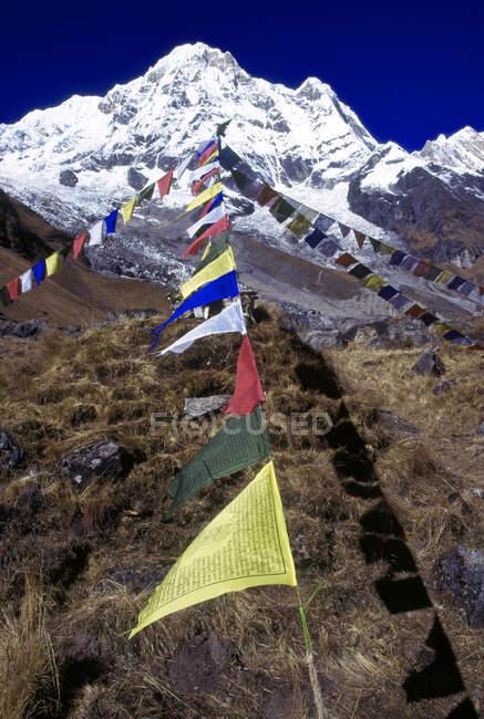 Вид горы вершины на фоне и флаги на переднем плане в дневное время — стоковое фото