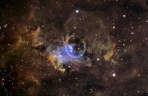Paisaje estelar con nebulosa de burbuja - foto de stock