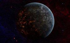 Planeta con luces de lava fundida en la noche - foto de stock