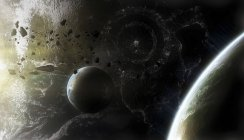 Planets composition with asteroids and space ships — Stock Photo