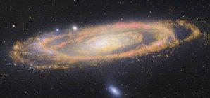 Paisaje estelar con galaxia de Andrómeda - foto de stock