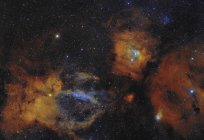 Bubble Nebula and open star cluster in Cassiopeia constellation — Stock Photo