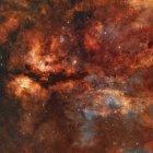 IC-1318 Schmetterling Nebel um Sterne Gamma Cygni — Stockfoto
