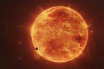 Массивные красный карлик в космическом пространстве — стоковое фото