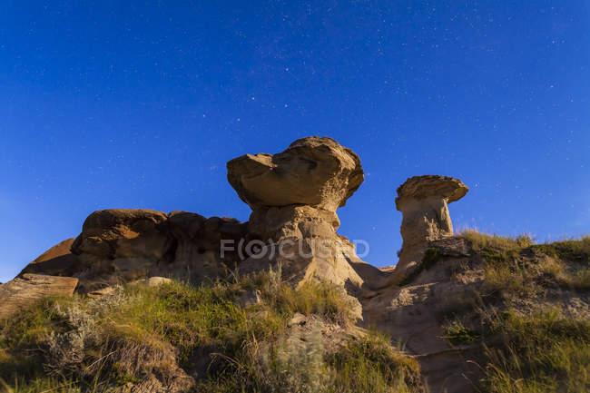 Hoodoo formations at Dinosaur Provincial Park — Stock Photo