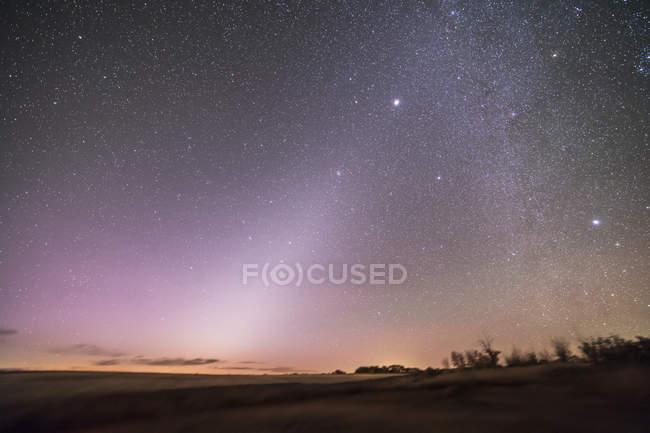 Starscape com luz zodiacal em Alberta — Fotografia de Stock