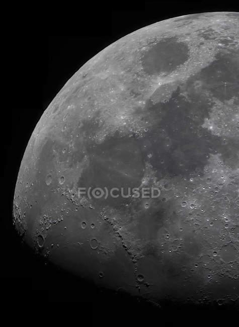 Limb and terminator of gibbous Moon — Stock Photo