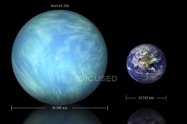 Unterschied zwischen Erde und Kepler-22 b — Stockfoto