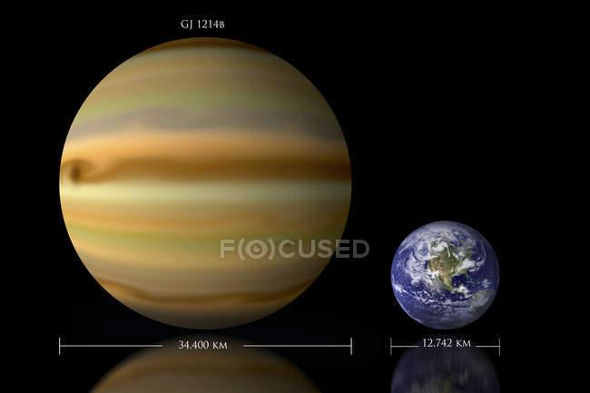 Beziehung zwischen Erde und Gliese-1214b — Stockfoto