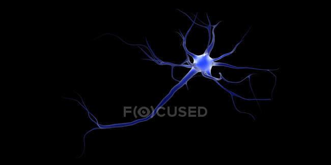 Image conceptuelle d'un neurone sur fond noir — Photo de stock
